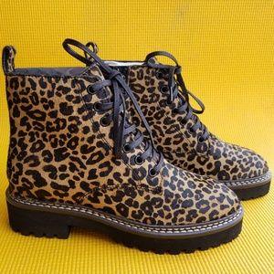 Sam Edelman Leopard Print Cow Hair Combat Boots